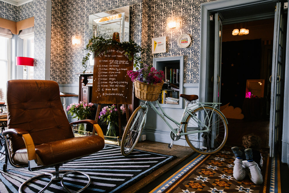 Bicycle Bike Flowers Basket Decor Titchwell Manor Wedding Honey and The Moon Photography