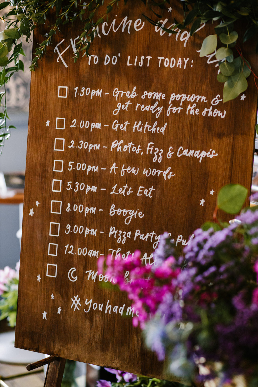 Wooden Sign Signs Signage Signpost Order of the Day Titchwell Manor Wedding Honey and The Moon Photography