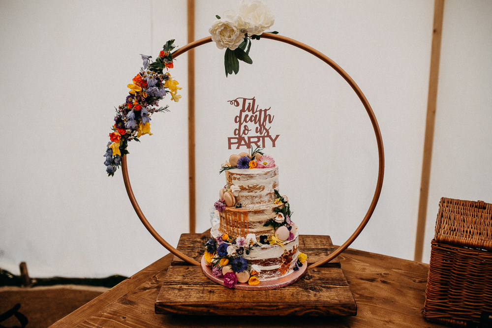 Semi Named Cake Drip Flowers Macaron Topper Hoop Ring Circle Flowers Tree Cathedral Wedding Milton Keynes Miracle Moments