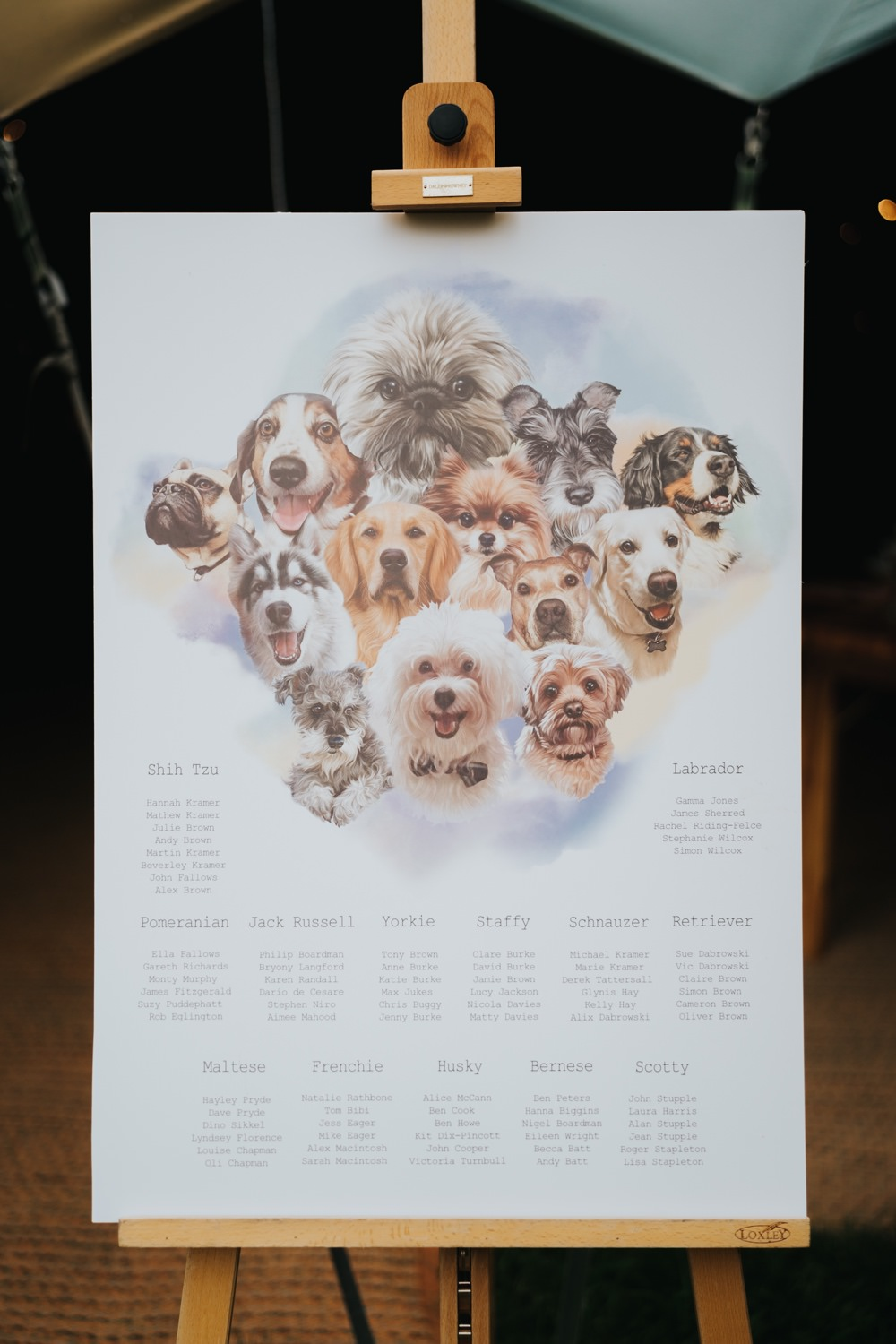 Table Plan Seating Chart Dogs Animal Lovers Wedding Bloom Weddings