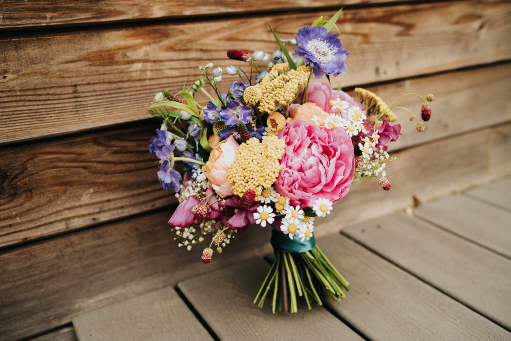 Bouquet Flowers Bride Bridal Colourful Peony Daisy Animal Lovers Wedding Bloom Weddings