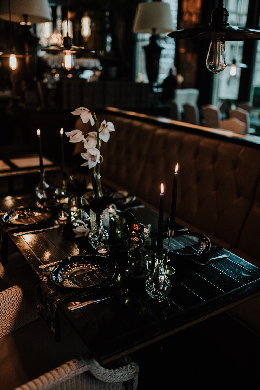 Place Setting Decor Plates Table Tablescape Feathers Candles Black Wedding Ideas Taylar-Jayde Photography