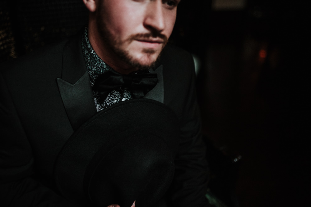 Groom Suit Bow Tie Print Shirt Black Wedding Ideas Taylar-Jayde Photography