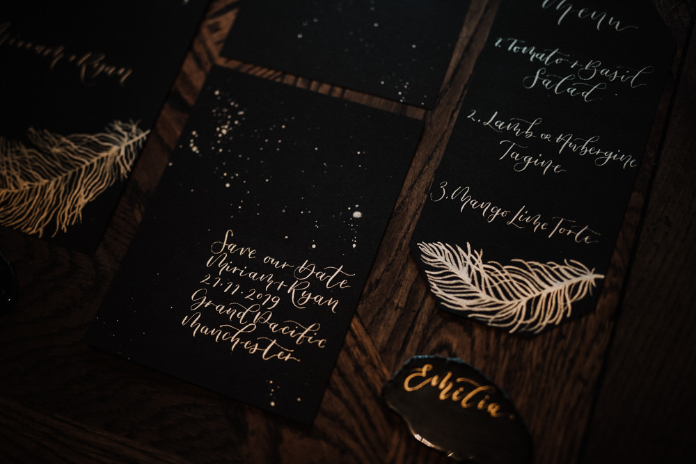 Stationery Invite Invitation Gold Feather Calligraphy Black Wedding Ideas Taylar-Jayde Photography