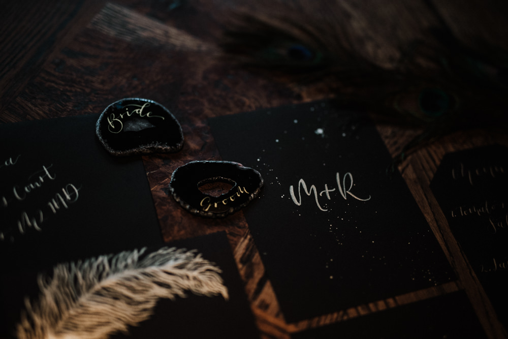Agate Place Name Cards Gold Black Wedding Ideas Taylar-Jayde Photography