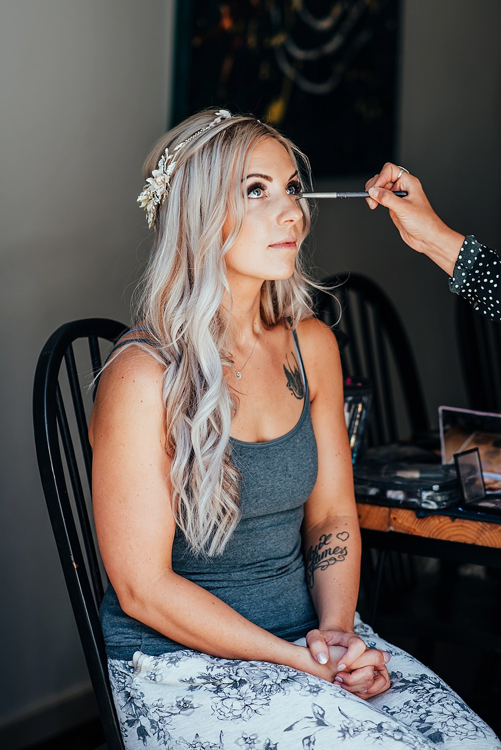 Bride Bridal Hair Make Up Long Waves Accessory Crown Boho Rustic Wedding This and That Photography