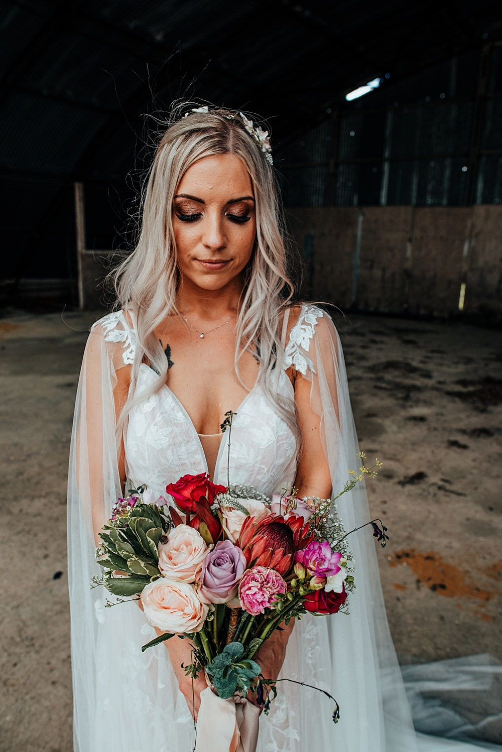 Bride Bridal Dress Gown Fox Bridal Nude Straps Train Cape Bouquet Flowers Bride Bridal Pink Purple Rose Protea Succulent Boho Rustic Wedding This and That Photography