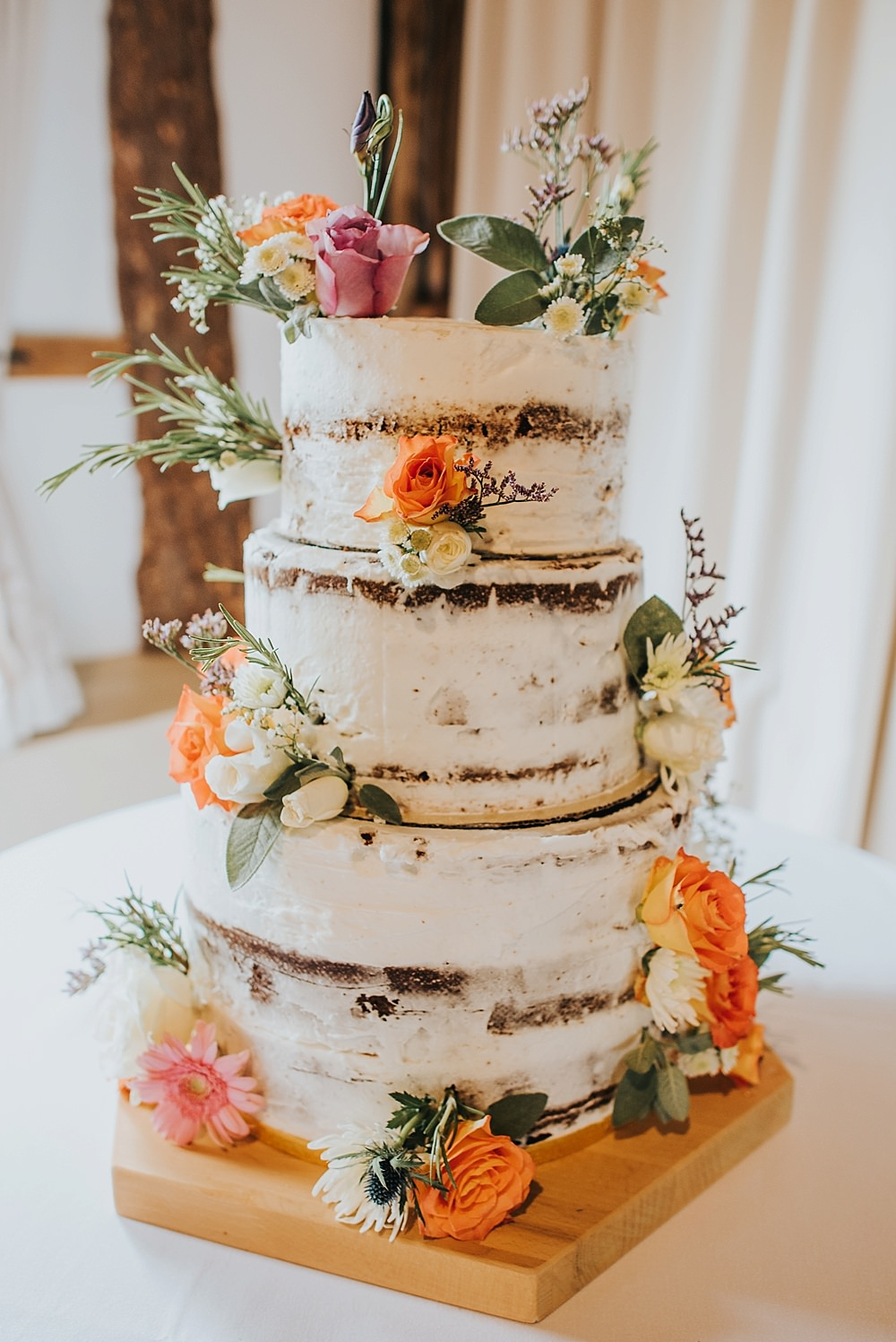 Semi Naked Cake Flowers Tall Boho Rustic Wedding This and That Photography