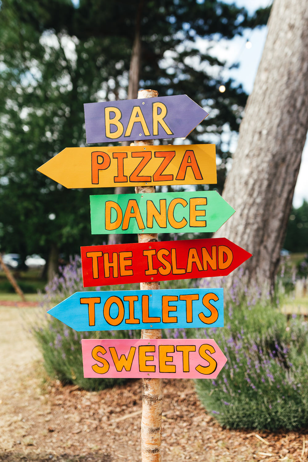 Sign Post Colourful Painted Signs Brook Farm Wedding Kirsty Mackenzie Photography