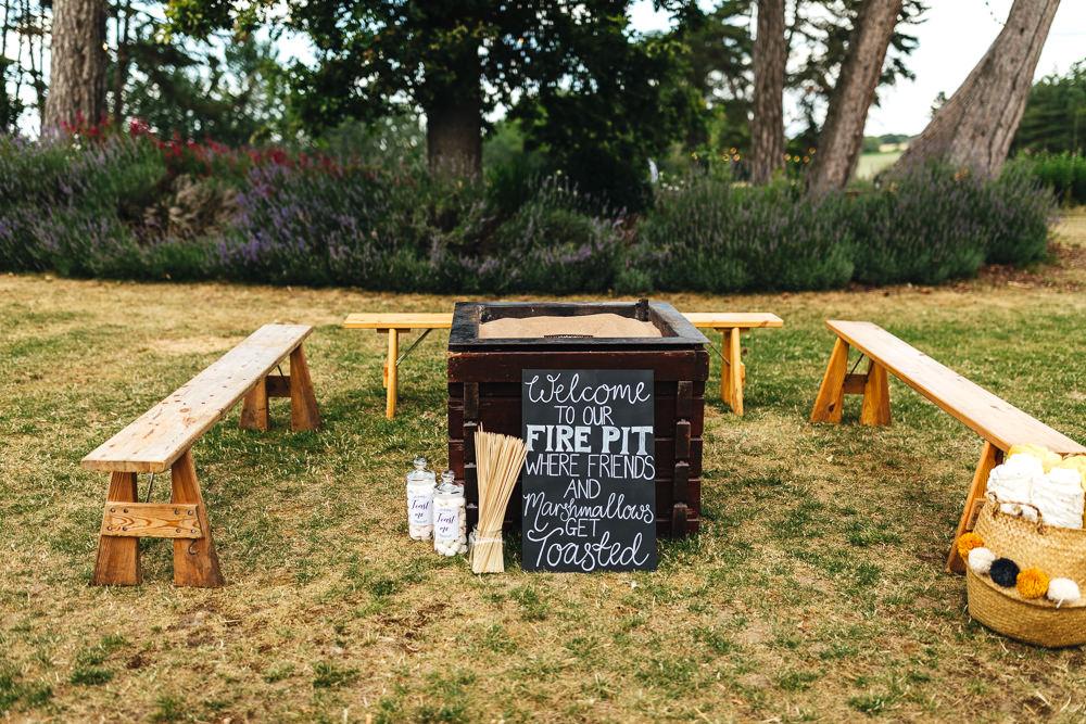 Fire Pit Brook Farm Wedding Kirsty Mackenzie Photography