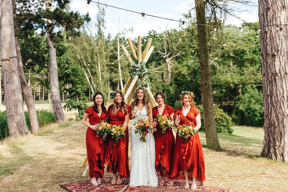 Bridesmaids Bridesmaid Dress Dresses Red Ruffle Brook Farm Wedding Kirsty Mackenzie Photography