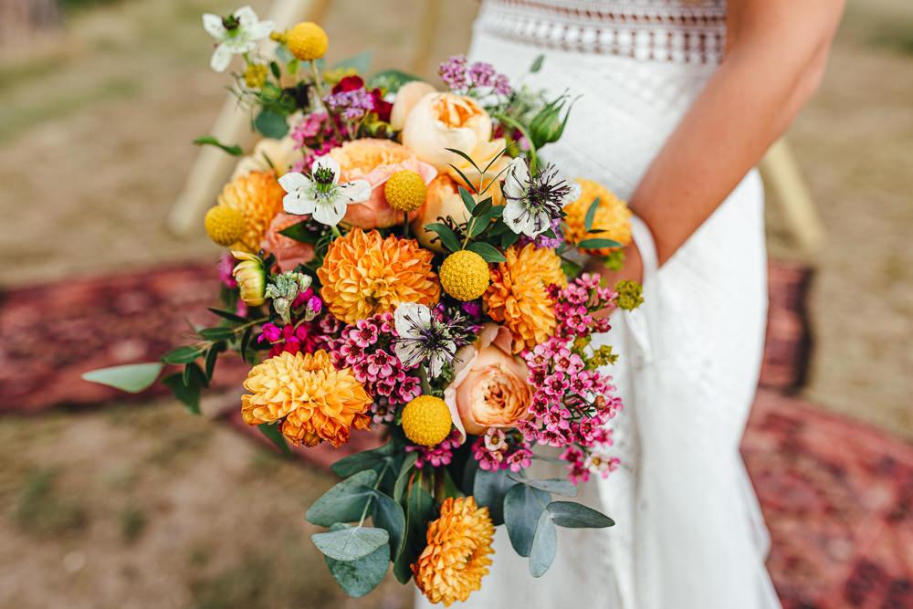 Bouquet Flowers Bride Bridal Yellow Pink Billy Ball Rose Dahlia Brook Farm Wedding Kirsty Mackenzie Photography