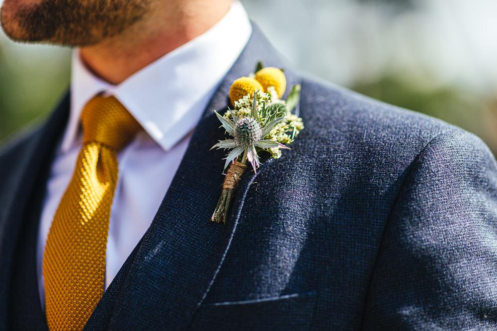 Groom Suit Yellow Tie Buttonhole Brook Farm Wedding Kirsty Mackenzie Photography