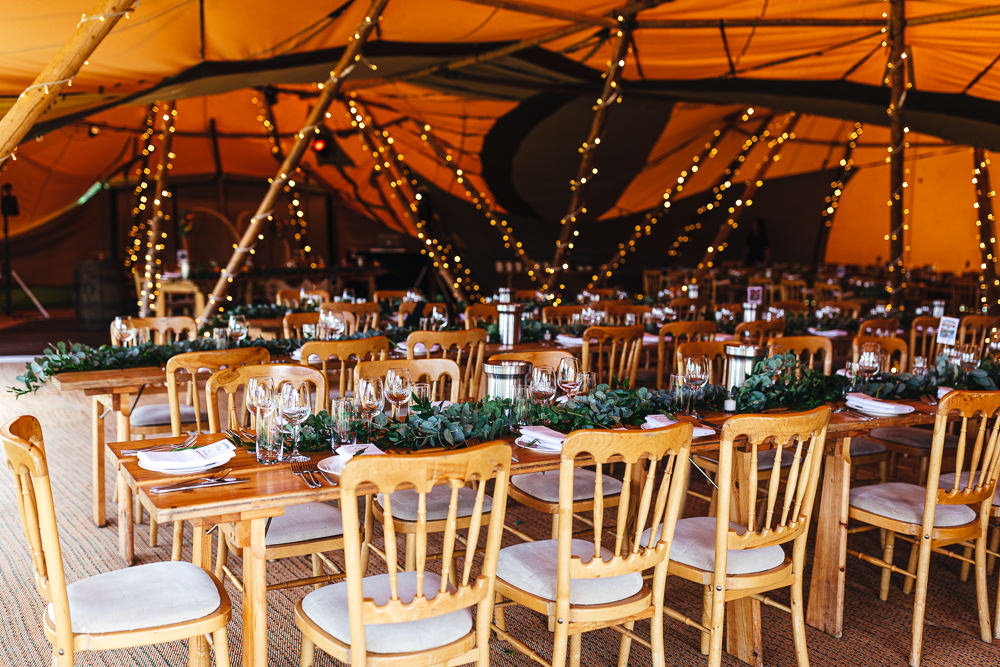 Tipi Reception Decor Long Tab;es Brook Farm Wedding Kirsty Mackenzie Photography