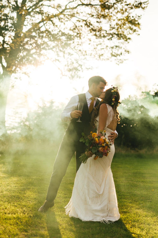 Smoke Bomb Portrait Photos Brook Farm Wedding Kirsty Mackenzie Photography
