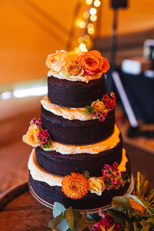 Naked Cake Chocolate Flowers Sponge Layer Brook Farm Wedding Kirsty Mackenzie Photography