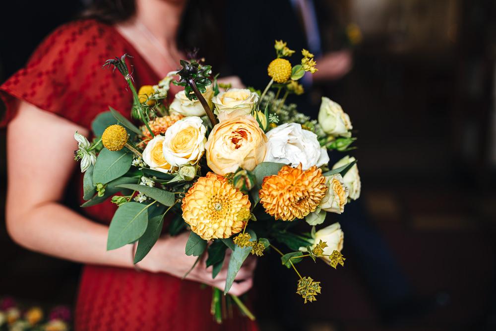 Bouquet Flowers Bridesmaid Yellow Dahlia Rose Billy Ball Brook Farm Wedding Kirsty Mackenzie Photography