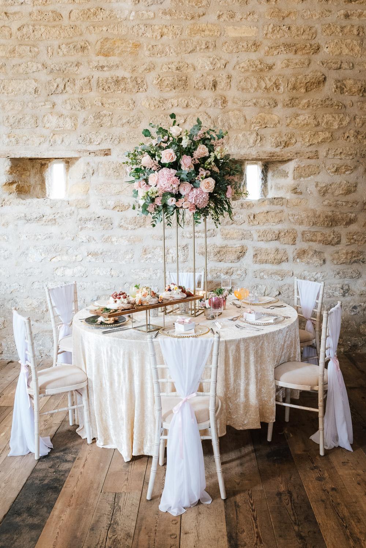 Flower Arrangement Tall Centrepiece Pink Pretty Candles Decor Cherry Blossom Wedding Ideas Sugarbird Photography