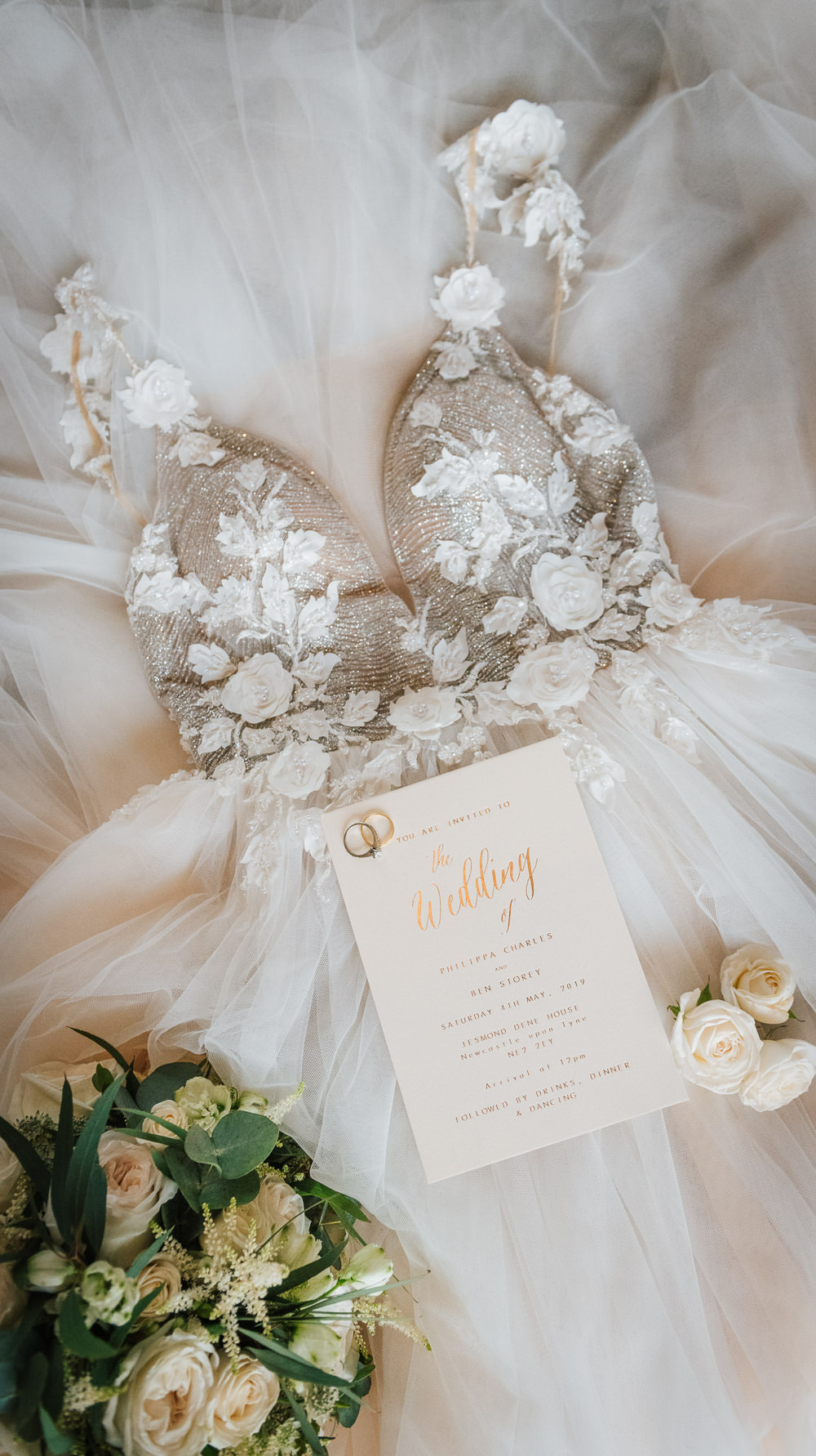 Dress Gown Bride Bridal Straps Train Lace Tulle Cherry Blossom Wedding Ideas Sugarbird Photography