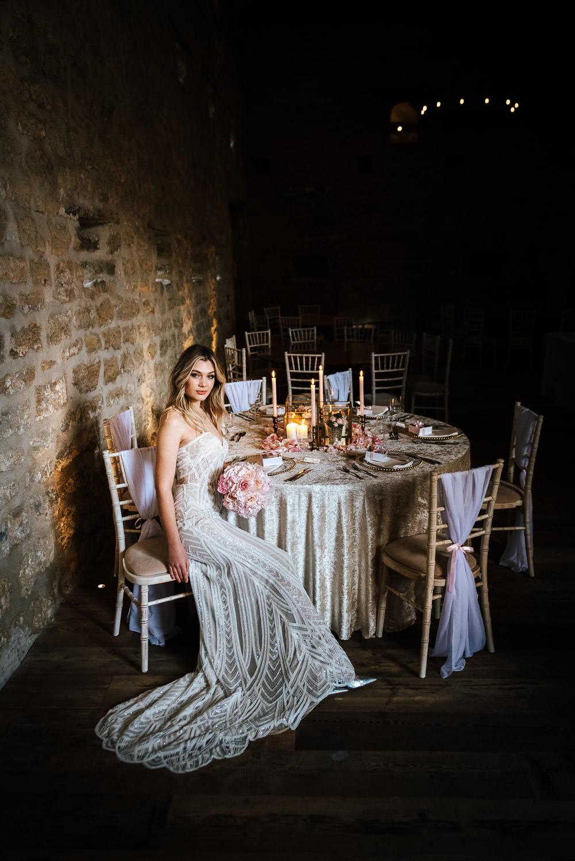 Dress Gown Bride Bridal Straps Train Lace Flower Arrangement Tall Centrepiece Pink Pretty Candles Decor Cherry Blossom Wedding Ideas Sugarbird Photography