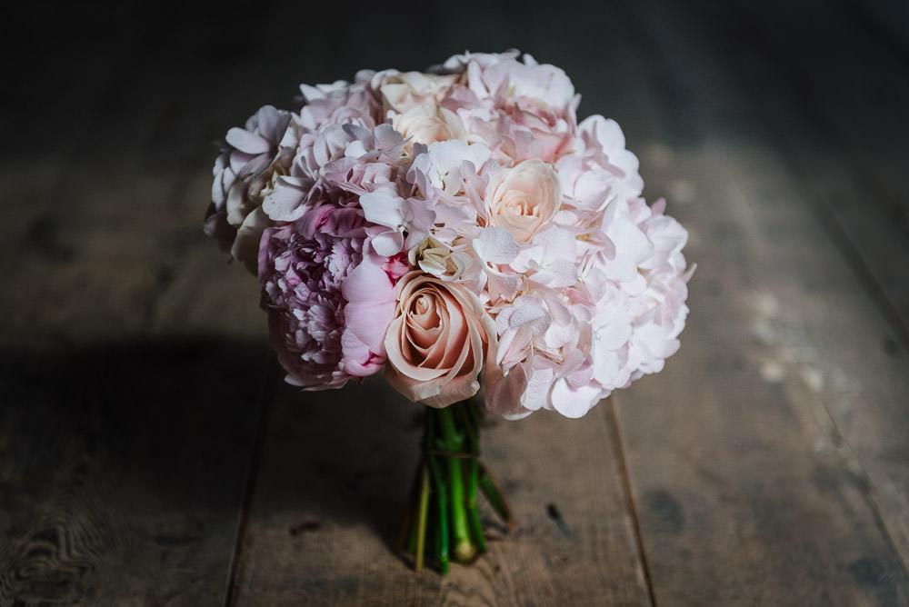 Bouquet Flowers Bride Bridal Pink Hydrangea Rose Peony Cherry Blossom Wedding Ideas Sugarbird Photography