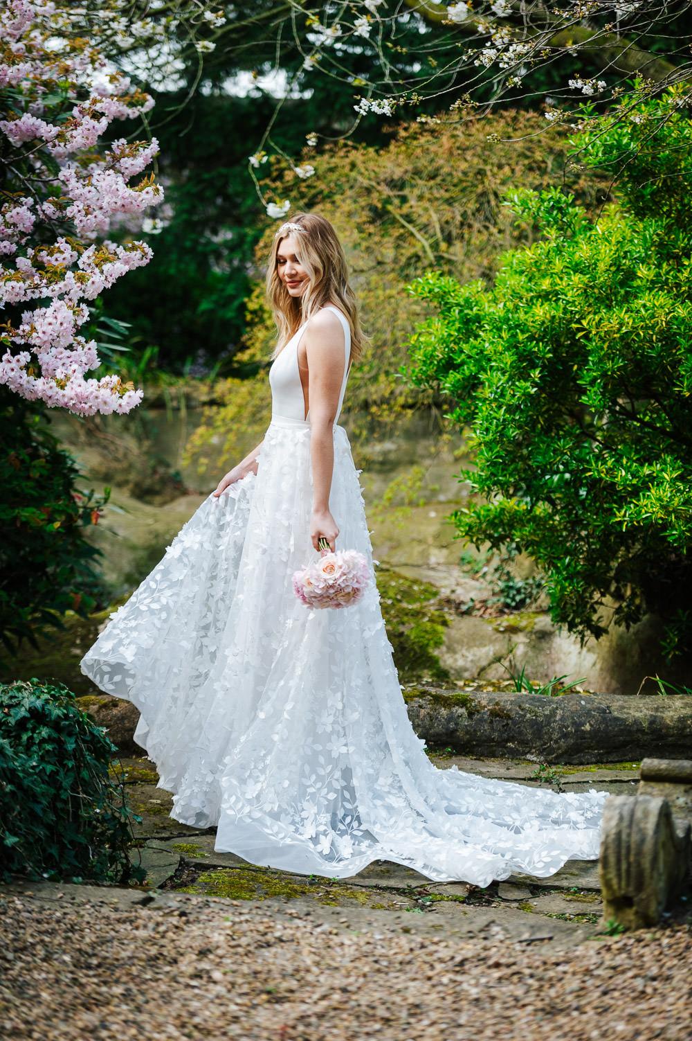 Dress Gown Bride Bridal Straps Train Floral Applique Cherry Blossom Wedding Ideas Sugarbird Photography