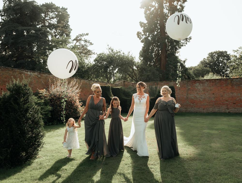 Bridesmaids Bridesmaid Dress Dresses Grey Combermere Abbey Wedding Damian Brandon Photography