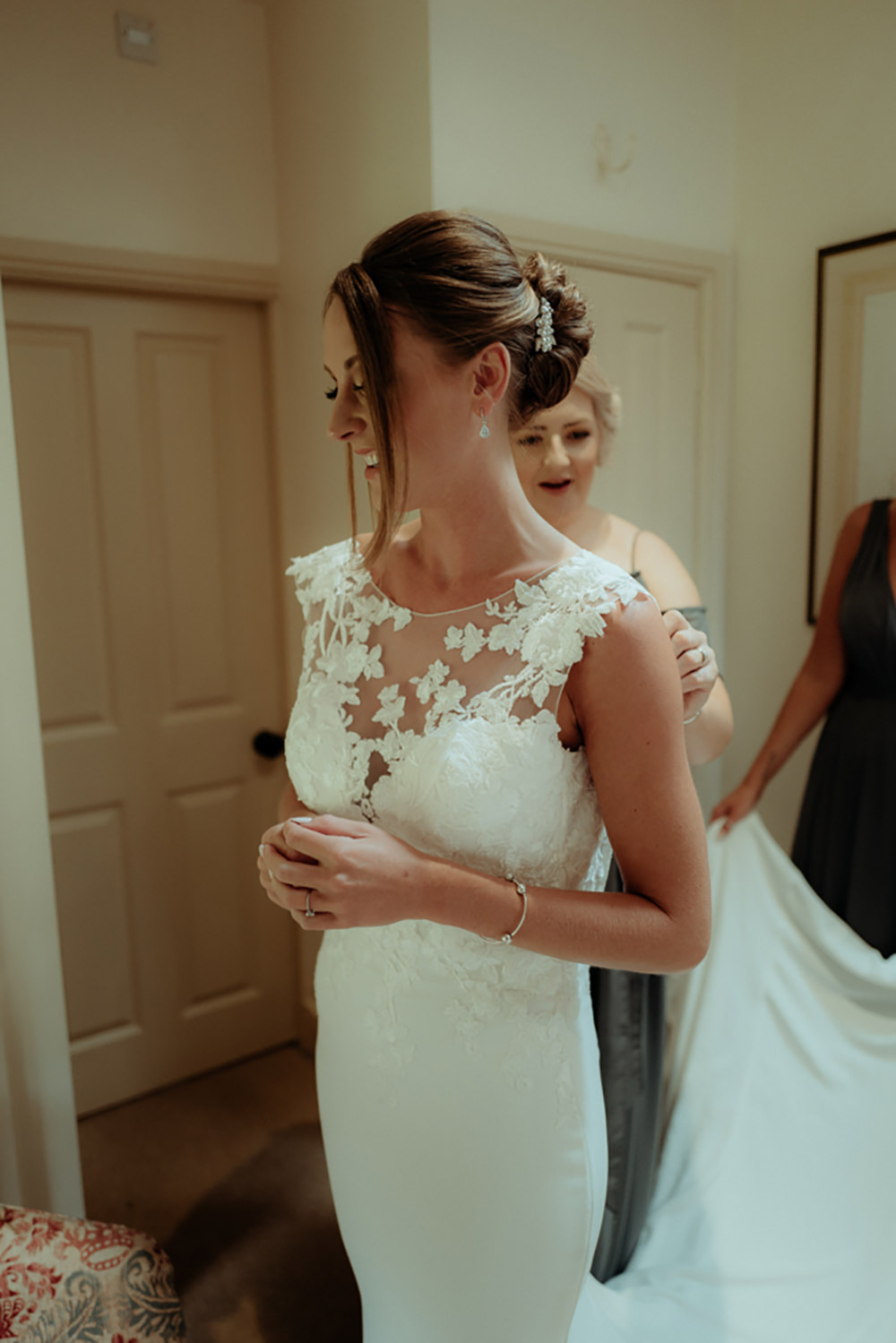 Dress Gown Bride Bridal Pronovias Drail Train Lace Cape Combermere Abbey Wedding Damian Brandon Photography