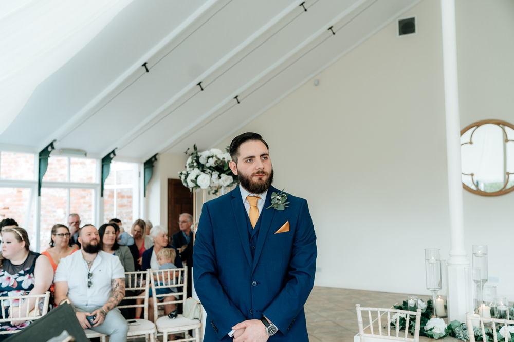 Groom Suit Navy Mustard Yellow Tie Pocket Square Combermere Abbey Wedding Damian Brandon Photography