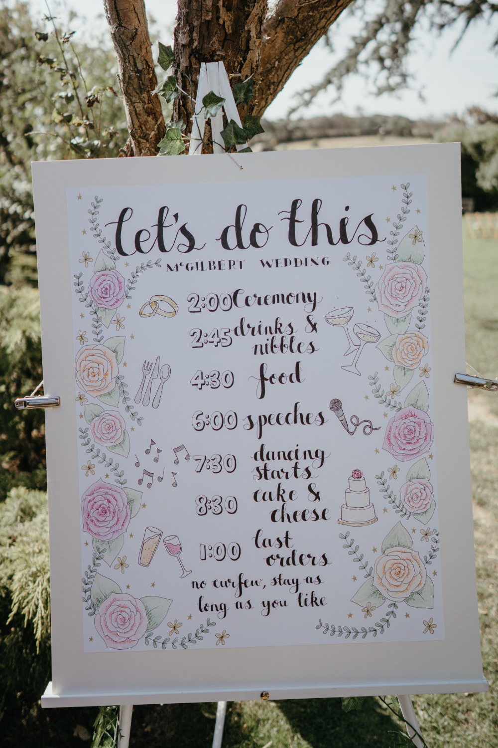 Sign Signs Signage Order of Day Literary Wedding Naomi Jane Photography