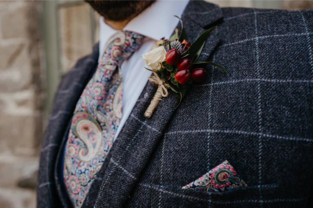 Groom Groomsmen Suit Check Paisley Tie Buttonhole Literary Wedding Naomi Jane Photography