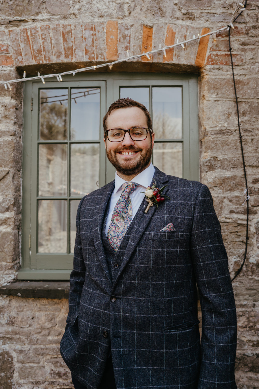 Groom Groomsmen Suit Check Paisley Tie Literary Wedding Naomi Jane Photography