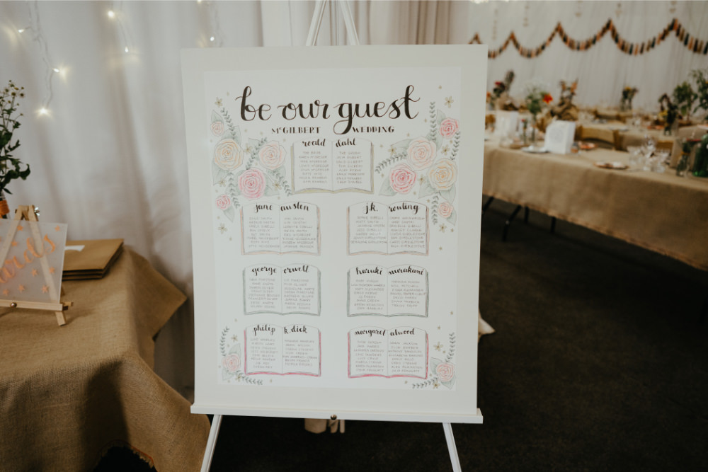 Table Plan Seating Chart Be Our Guest Literary Wedding Naomi Jane Photography