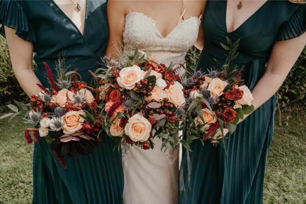 Bouquet Flowers Bride Bridal Bridesmaid Blush Rose Burgundy Amaranthus Literary Wedding Naomi Jane Photography