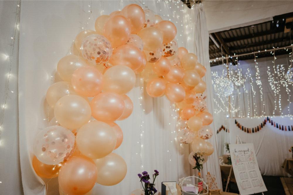 Balloon Arch Decor Literary Wedding Naomi Jane Photography