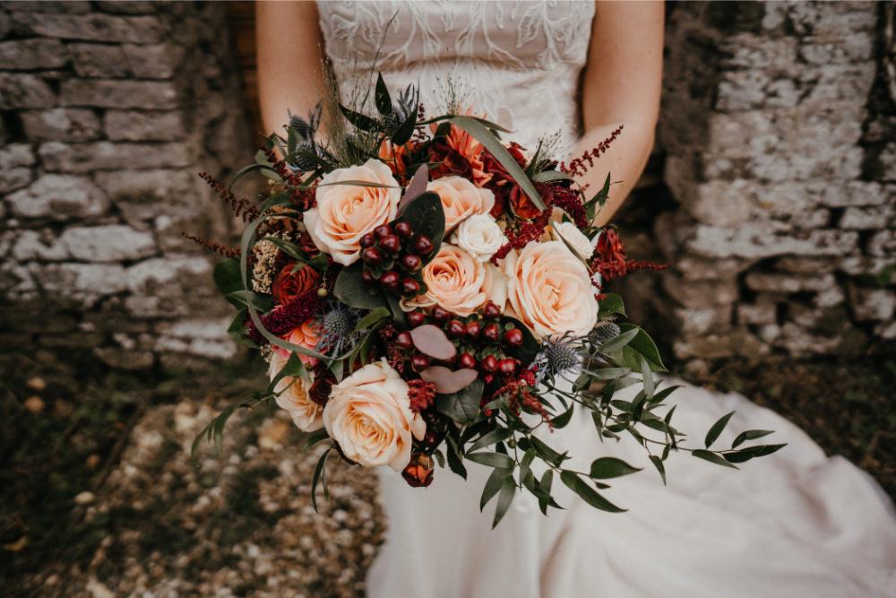 Bouquet Flowers Bride Bridal Bridesmaid Blush Rose Burgundy Amaranthus Thistle Literary Wedding Naomi Jane Photography