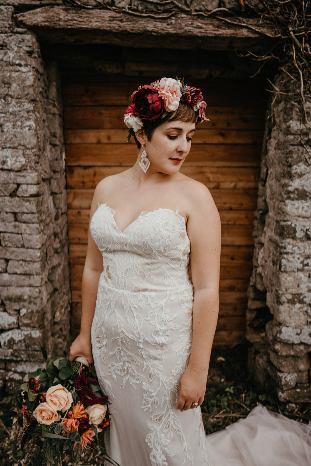 Bride Bridal Hair Make Up Dress Gown Strapless Lace Flower Crown Literary Wedding Naomi Jane Photography