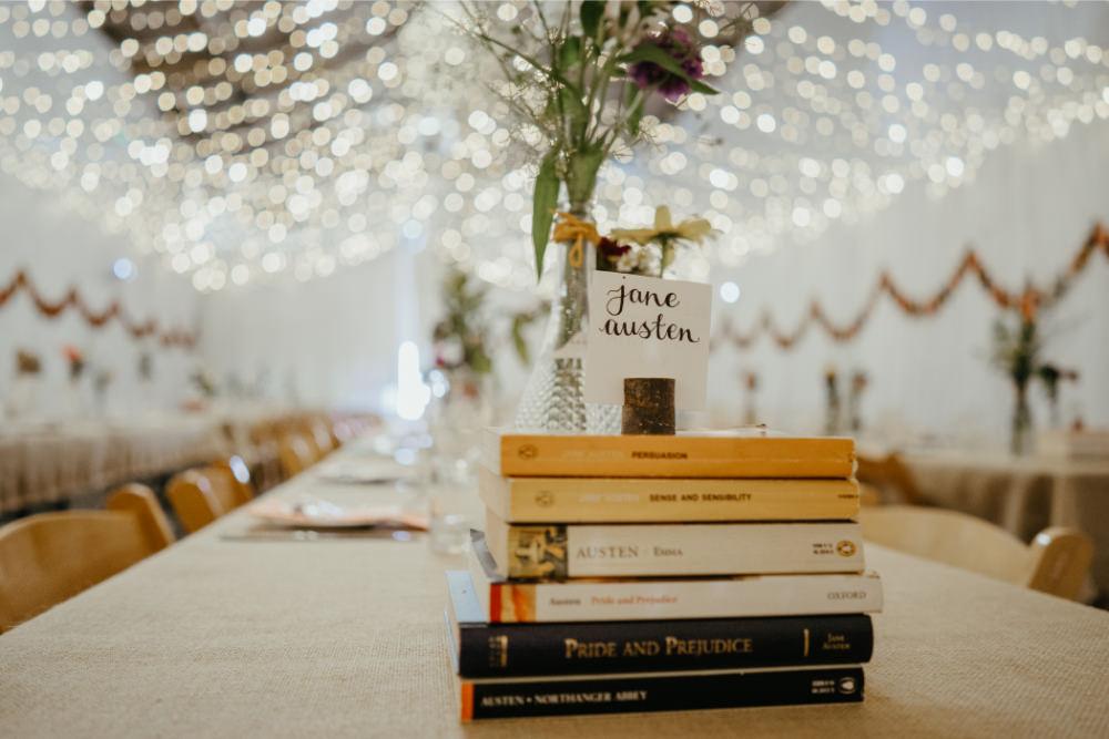 Book Table Names Decor Literary Wedding Naomi Jane Photography