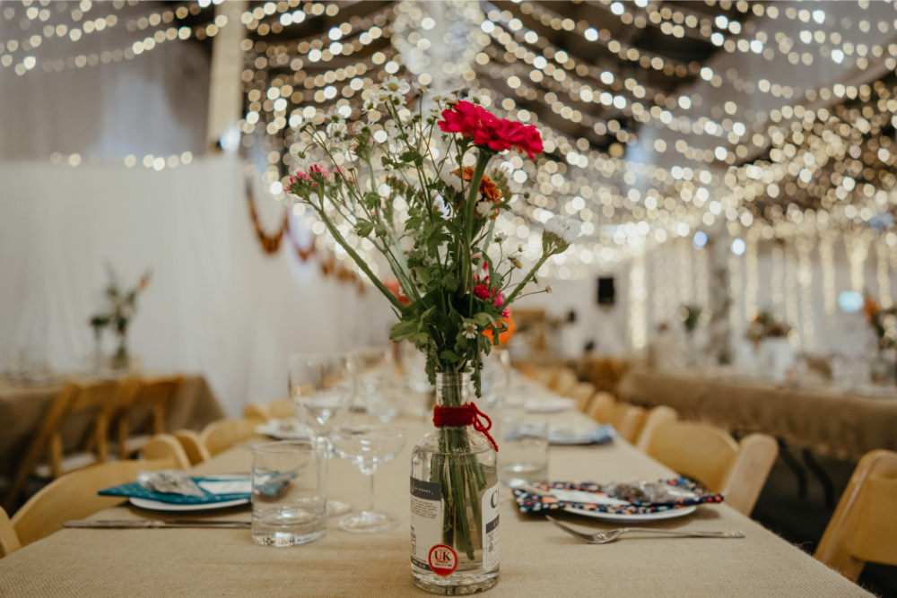 Centrepiece Table Flowers Bottle Literary Wedding Naomi Jane Photography