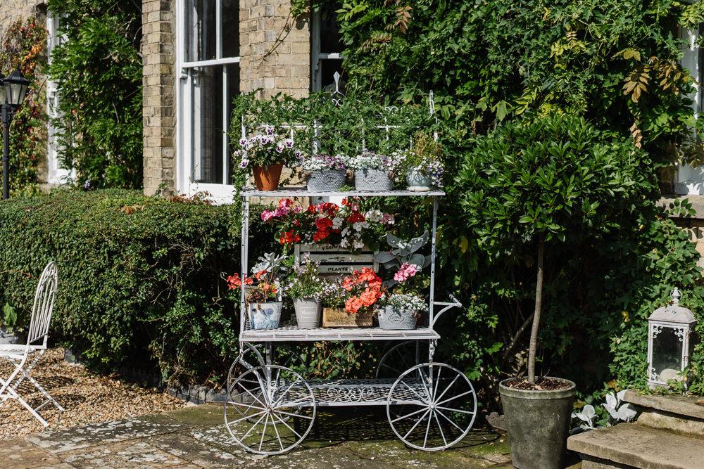 Pot Plant Trolley Lodge Farm Wedding David Boynton Wedding Photography
