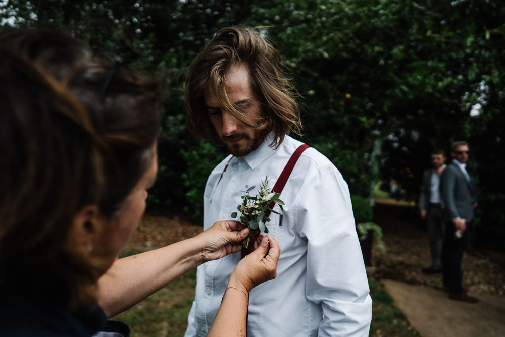 Groom Suit Shirt Braces Buttonhole Lodge Farm Wedding David Boynton Wedding Photography
