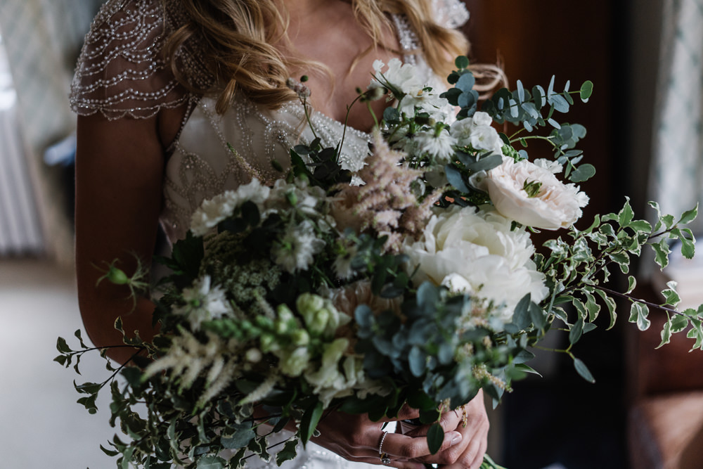 Bouquet Flowers Bride Bridal Greenery Foliage Astilbe Peony Lodge Farm Wedding David Boynton Wedding Photography
