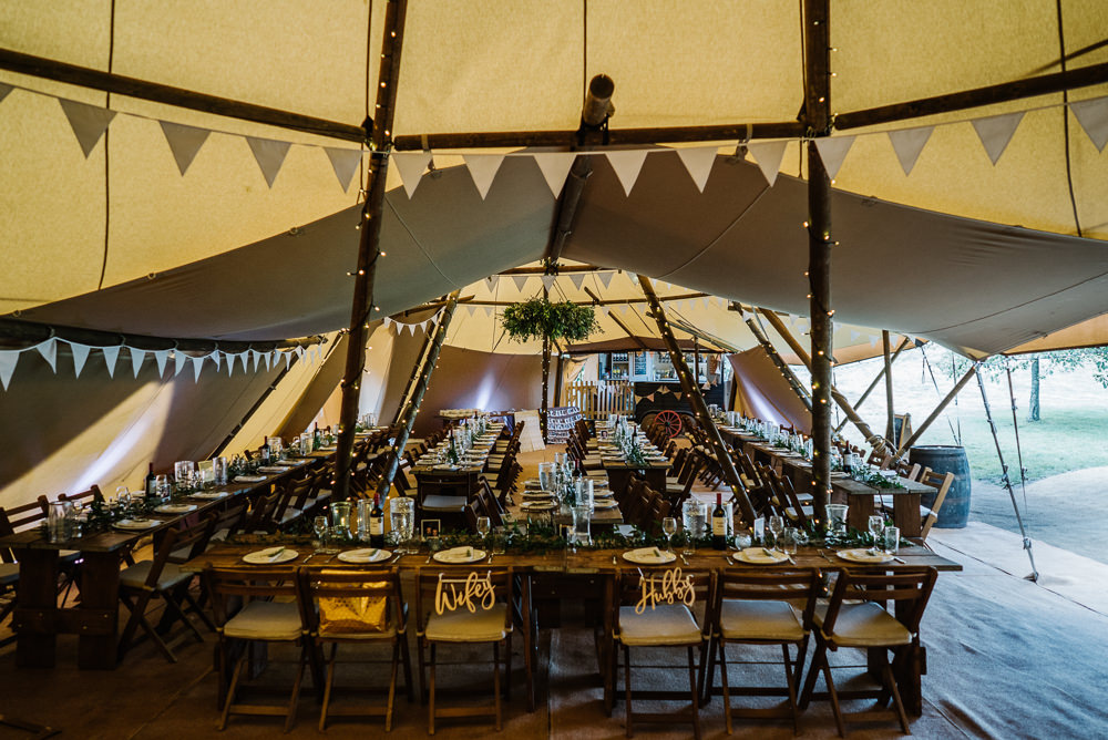 Tipi Long Tables Decor Greenery Foliage Hoop Lodge Farm Wedding David Boynton Wedding Photography