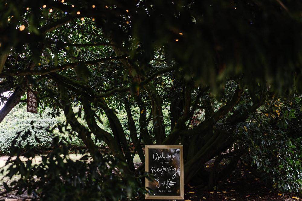 Welcome Sign Lodge Farm Wedding David Boynton Wedding Photography