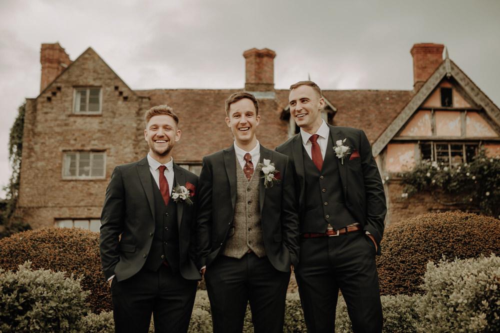 Groom Groomsmen Suit Navy Waistcoat Red Tie Magical Tipi Wedding Esme Whiteside Photography