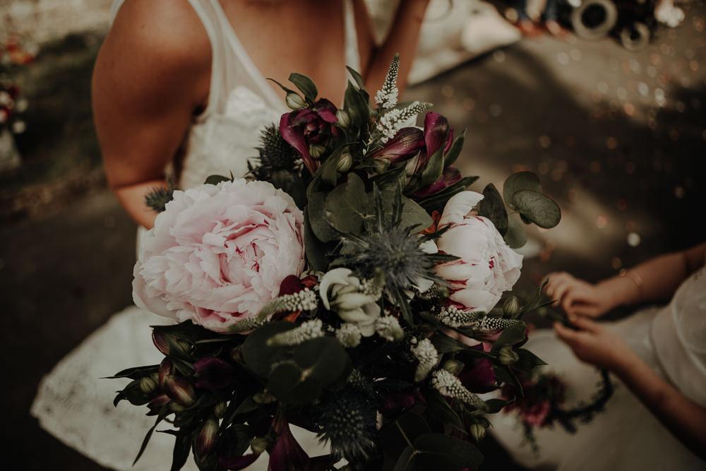 Bouquet Flowers Bride Bridal Peony Thistle Magical Tipi Wedding Esme Whiteside Photography