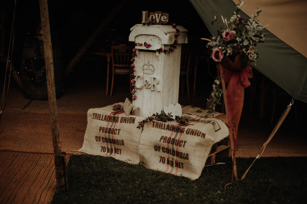 Post Box Cards Gift Table Magical Tipi Wedding Esme Whiteside Photography