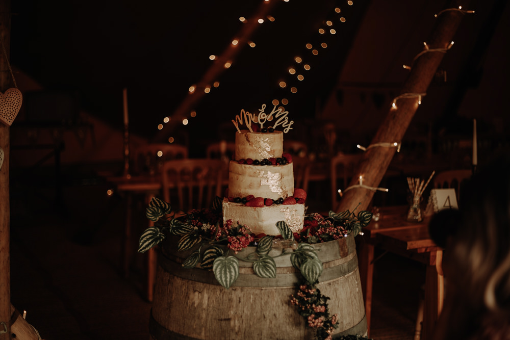 Semi Naked Cake Gold Flowers Topper Barrel Magical Tipi Wedding Esme Whiteside Photography