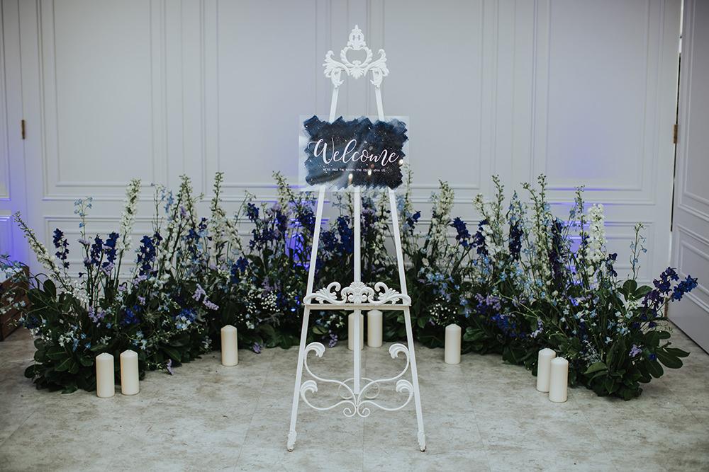 Welcome Sign Blue Celestial Flower Meadow Candles Moon Stars Wedding Ideas Olegs Samsonovs Photography