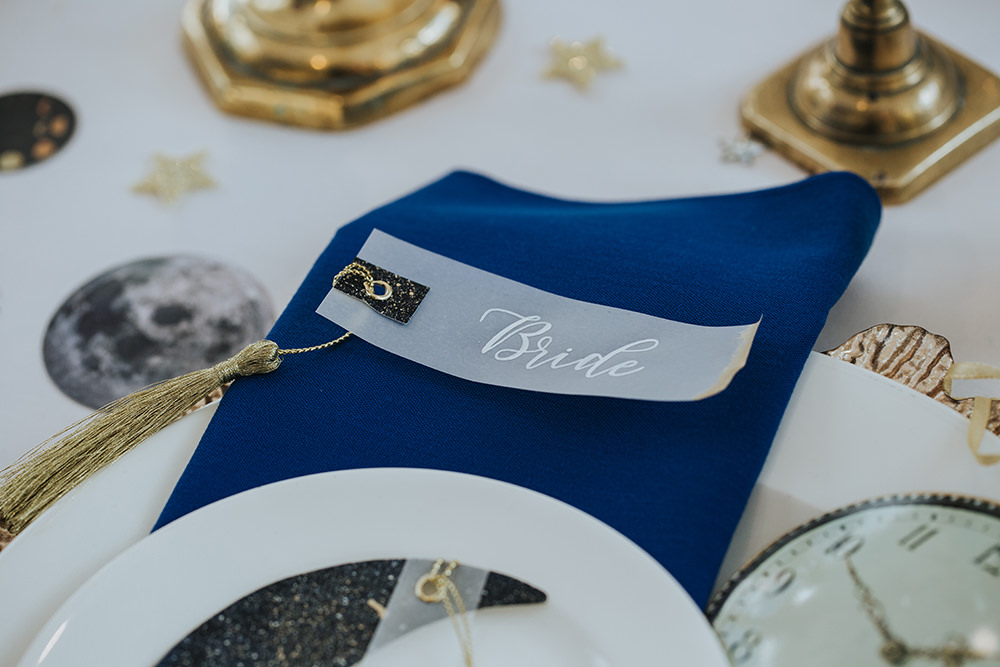 Place Setting Decor Menu Celestial Blue Gold Tassel Glassine Place Name Moon Stars Wedding Ideas Olegs Samsonovs Photography
